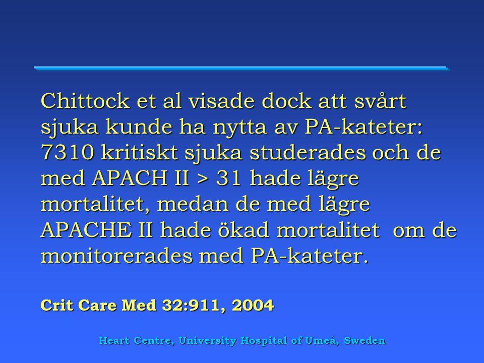 Heart Centre, University Hospital of Umeå, Sweden Chittock et al visade dock att svårt sjuka kunde ha nytta av PA-kateter: 7310 kritiskt sjuka studera