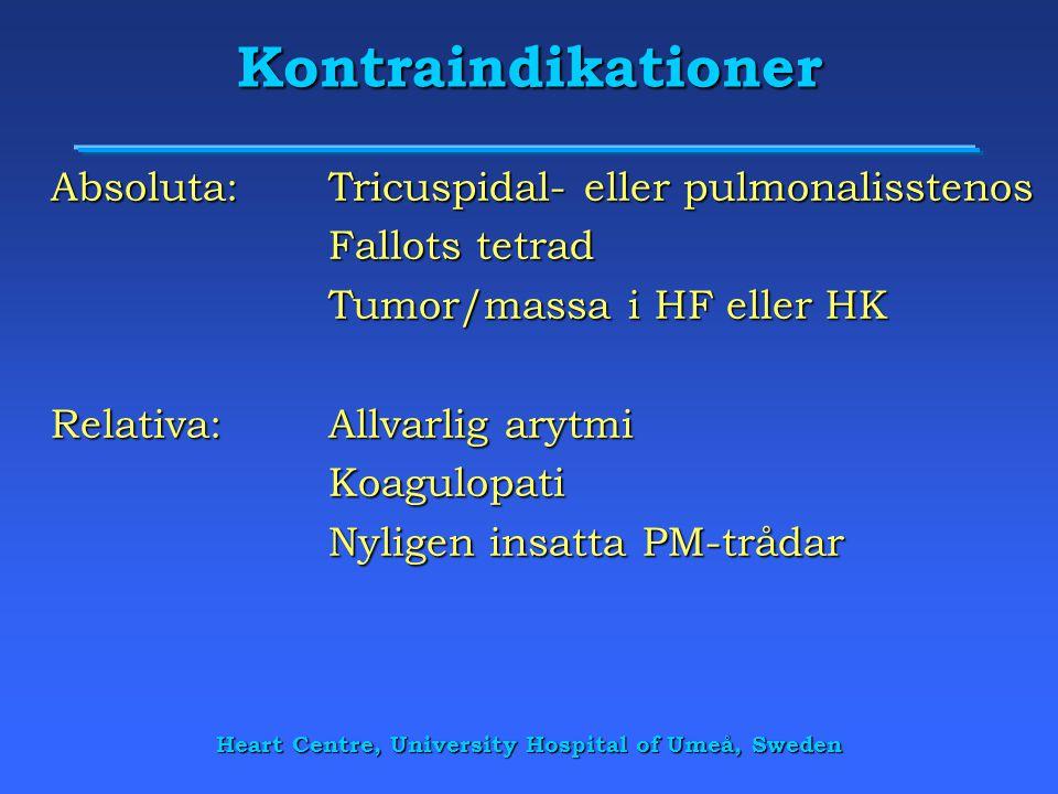 Heart Centre, University Hospital of Umeå, Sweden Kontraindikationer Absoluta:Tricuspidal- eller pulmonalisstenos Fallots tetrad Tumor/massa i HF elle