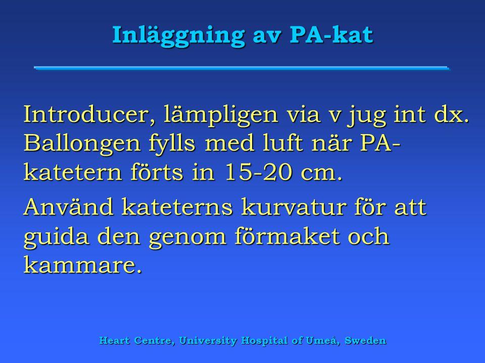 Heart Centre, University Hospital of Umeå, Sweden Inläggning av PA-kat Introducer, lämpligen via v jug int dx. Ballongen fylls med luft när PA- katete