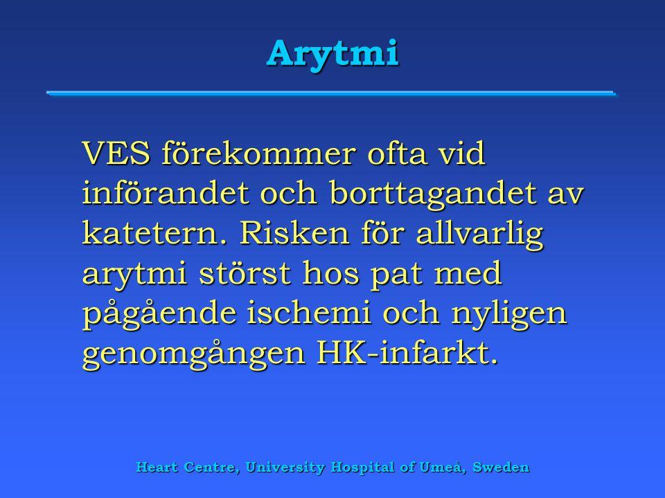Heart Centre, University Hospital of Umeå, Sweden Arytmi VES förekommer ofta vid införandet och borttagandet av katetern. Risken för allvarlig arytmi
