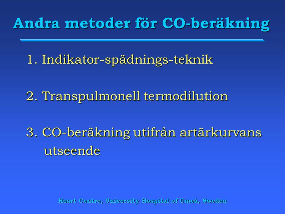 Heart Centre, University Hospital of Umeå, Sweden Andra metoder för CO-beräkning 1. Indikator-spädnings-teknik 2. Transpulmonell termodilution 3. CO-b