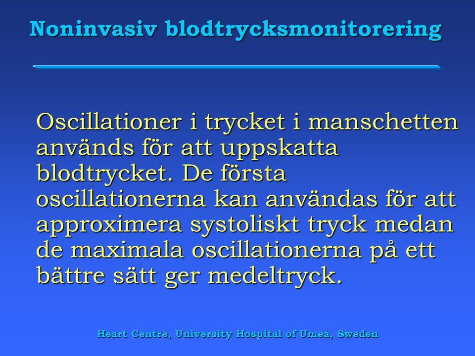 Heart Centre, University Hospital of Umeå, Sweden Noninvasiv blodtrycksmonitorering Oscillationer i trycket i manschetten används för att uppskatta bl