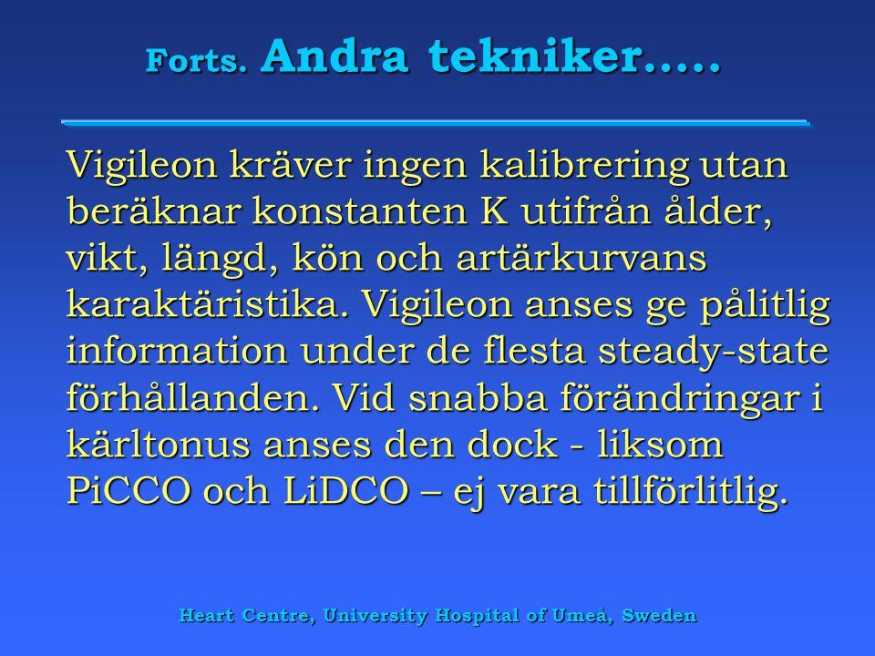 Heart Centre, University Hospital of Umeå, Sweden Forts. Andra tekniker….. Vigileon kräver ingen kalibrering utan beräknar konstanten K utifrån ålder,