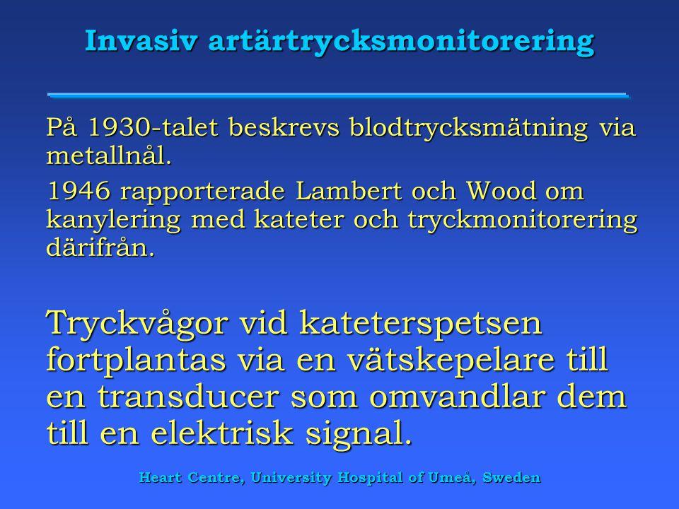 Heart Centre, University Hospital of Umeå, Sweden Invasiv artärtrycksmonitorering På 1930-talet beskrevs blodtrycksmätning via metallnål. 1946 rapport