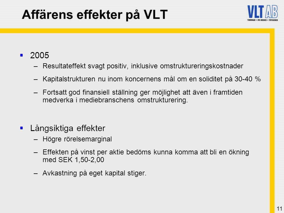 11 Affärens effekter på VLT  2005 –Resultateffekt svagt positiv, inklusive omstruktureringskostnader –Kapitalstrukturen nu inom koncernens mål om en