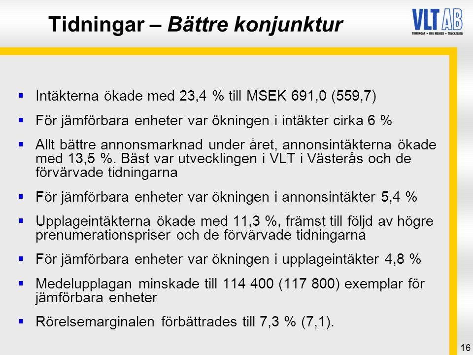 16 Tidningar – Bättre konjunktur  Intäkterna ökade med 23,4 % till MSEK 691,0 (559,7)  För jämförbara enheter var ökningen i intäkter cirka 6 %  Al
