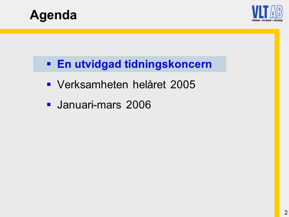 3 Tidningar Tryckeri- verksamhet VLT – koncernen i affärsområden Elektroniska medier Tidningsutgivning på 12 orter med upplaga på 179 600 (204 800) exemplar * ) Prolog KB ** ) Direktreklamutdelning Samt mindre ägarandelar i: Nerikes Allehanda (17,1 %) Hallandsposten (9,9 %) Västsvensk Tidningsdistribution KB (11,1 %) Tidningarnas Telegrambyrå (5 %) City Gate (9 %) Leanback Bra Radio TVCheck VTAB - Västsvenskt Tidnings- tryckeri AB (34,75 %) *) Varav Södermanlands Nyheter med en upplaga på 25 200 som ägs 50/50% tillsammans med Stampen AB * *) Ägs fom 2005 till 60% tillsammans med Eskilstuna-Kuriren AB, tidigare hade VLT AB 100% VLT AB