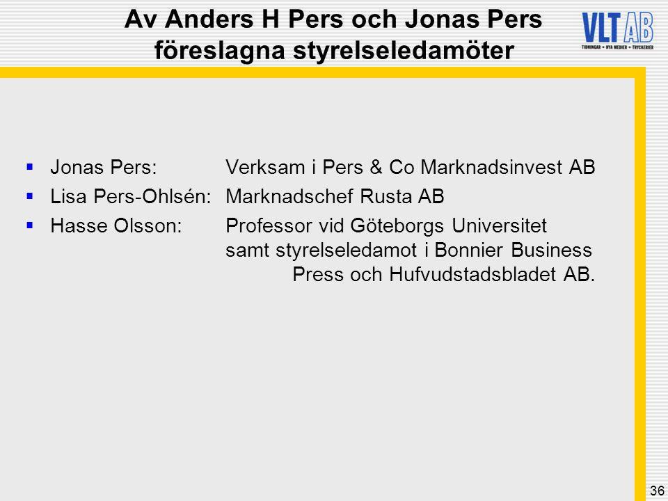 36 Av Anders H Pers och Jonas Pers föreslagna styrelseledamöter  Jonas Pers: Verksam i Pers & Co Marknadsinvest AB  Lisa Pers-Ohlsén: Marknadschef R