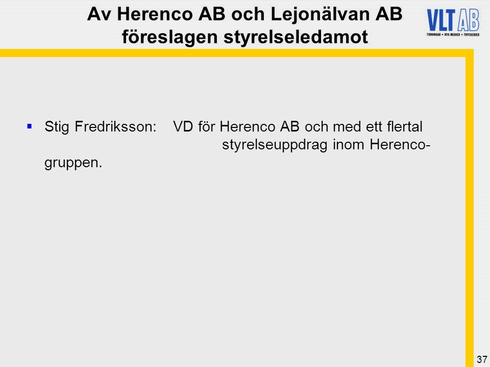 37 Av Herenco AB och Lejonälvan AB föreslagen styrelseledamot  Stig Fredriksson: VD för Herenco AB och med ett flertal styrelseuppdrag inom Herenco-