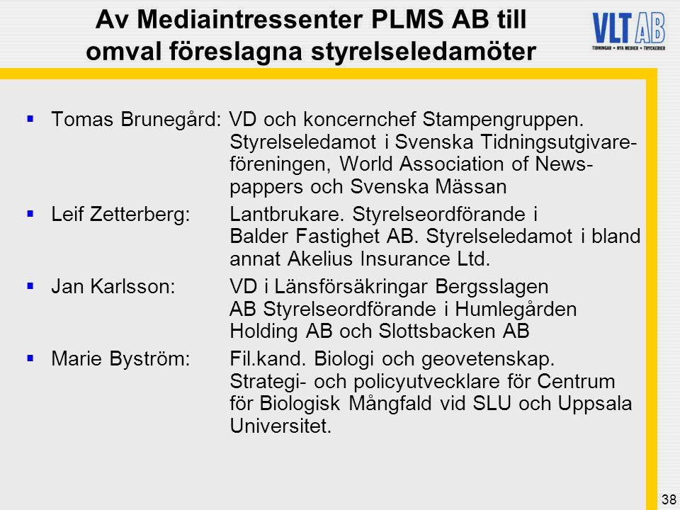 38 Av Mediaintressenter PLMS AB till omval föreslagna styrelseledamöter  Tomas Brunegård: VD och koncernchef Stampengruppen. Styrelseledamot i Svensk