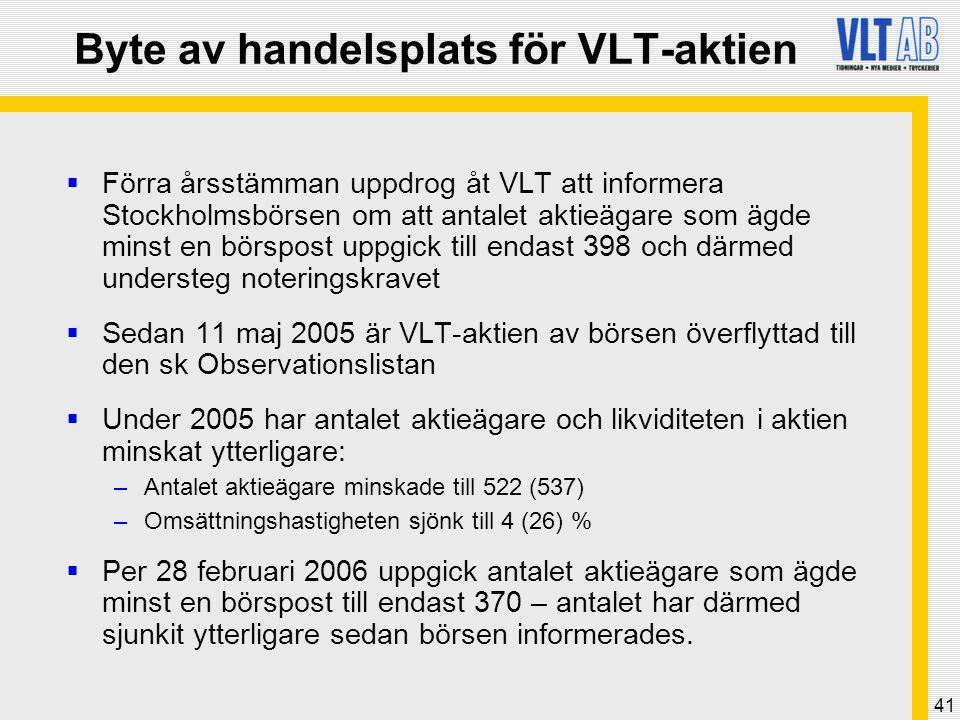 41 Byte av handelsplats för VLT-aktien  Förra årsstämman uppdrog åt VLT att informera Stockholmsbörsen om att antalet aktieägare som ägde minst en bö