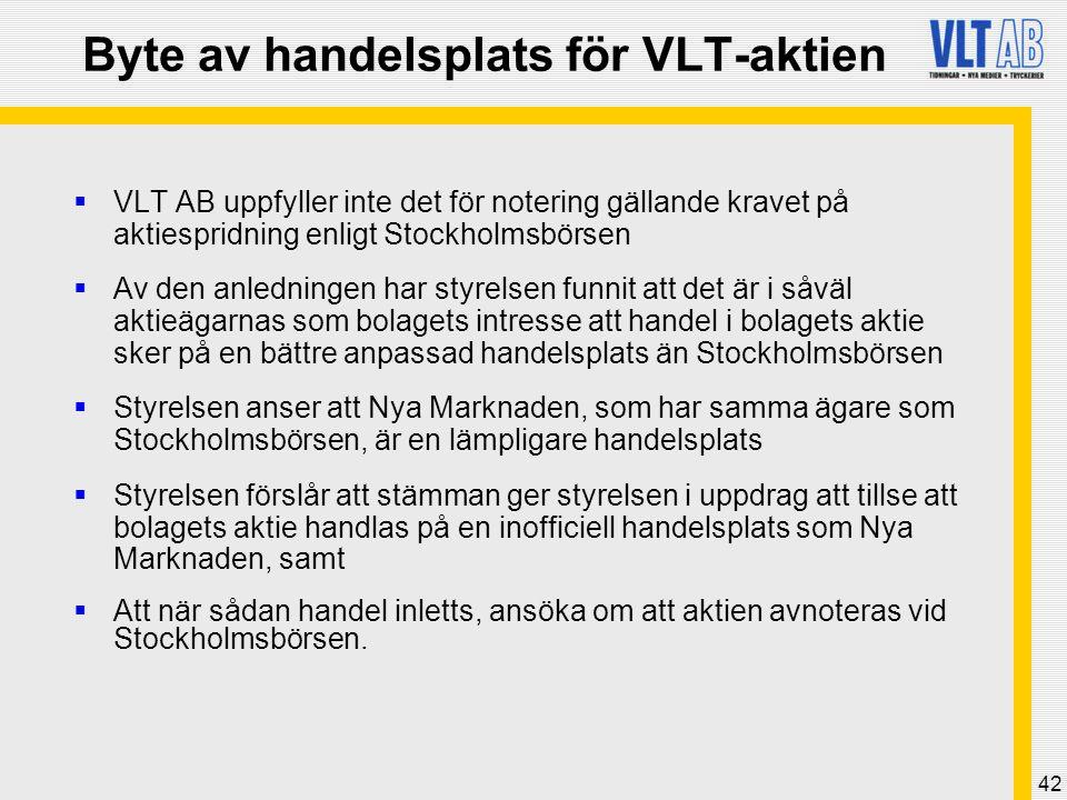 42 Byte av handelsplats för VLT-aktien  VLT AB uppfyller inte det för notering gällande kravet på aktiespridning enligt Stockholmsbörsen  Av den anl