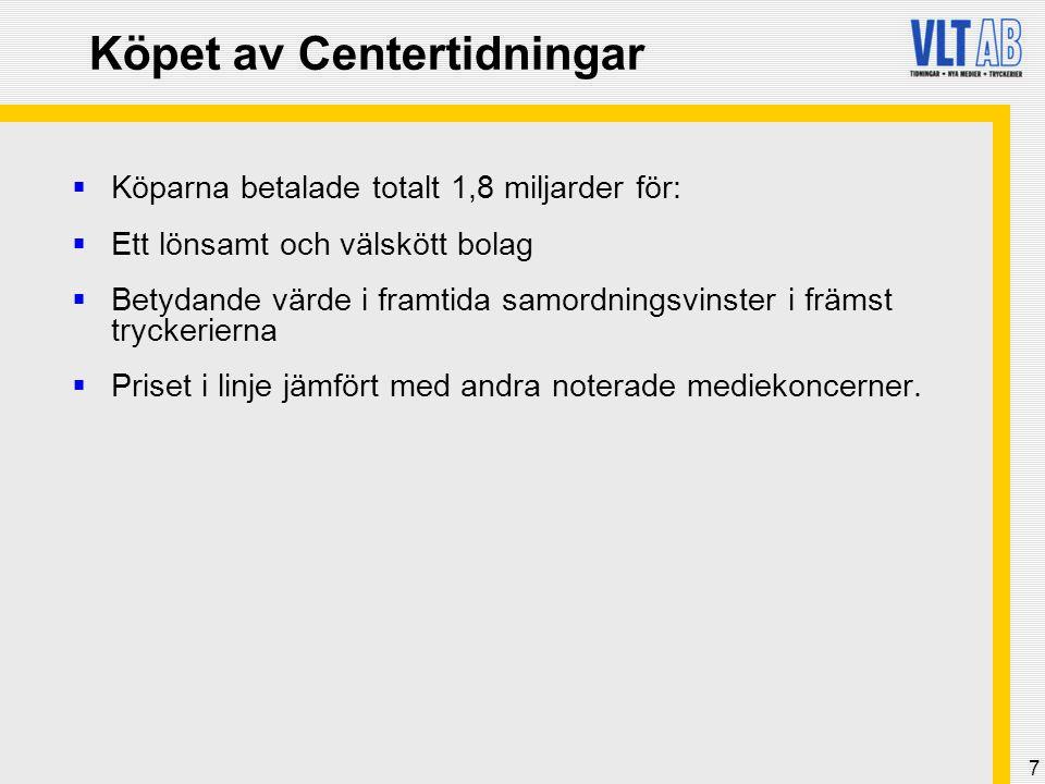8 De samverkande köparna  Tidningsaktiebolaget Stampen –Moderbolag för bl.a.