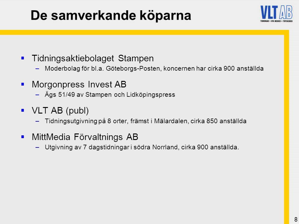 9 VLT AB:s del i affären  Övertagande per den 24 oktober 2005  Totalt pris MSEK 1 815  VLT AB:s andel uppgick till MSEK 532  VLT blev ägare i de sex tidningarna: –Länstidningen Södertälje –Nynäshamns-Posten –Norrtelje Tidning –Lidingö Tidning –Idrottsbladet Motorsport –Södermanlands Nyheter (50/50 % med Stampen AB)  VLT AB:s tidigare dotterbolag VLT Press ingår i Västsvenskt Tidningstryckeri AB, där VLT-koncernens ägarandel samtidigt ökade till 34,75 (10) %.