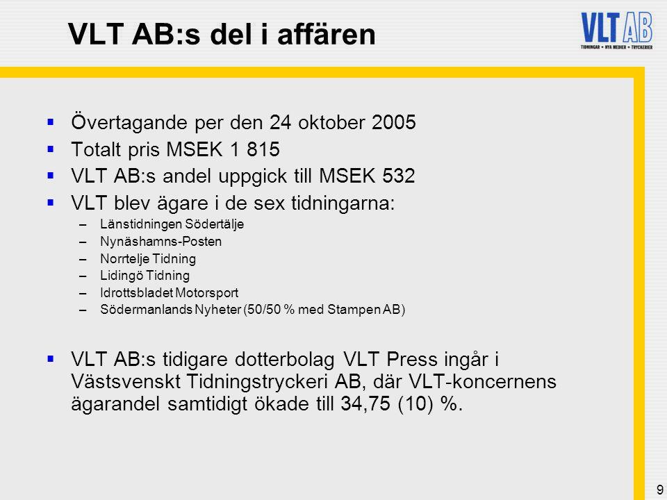 9 VLT AB:s del i affären  Övertagande per den 24 oktober 2005  Totalt pris MSEK 1 815  VLT AB:s andel uppgick till MSEK 532  VLT blev ägare i de s