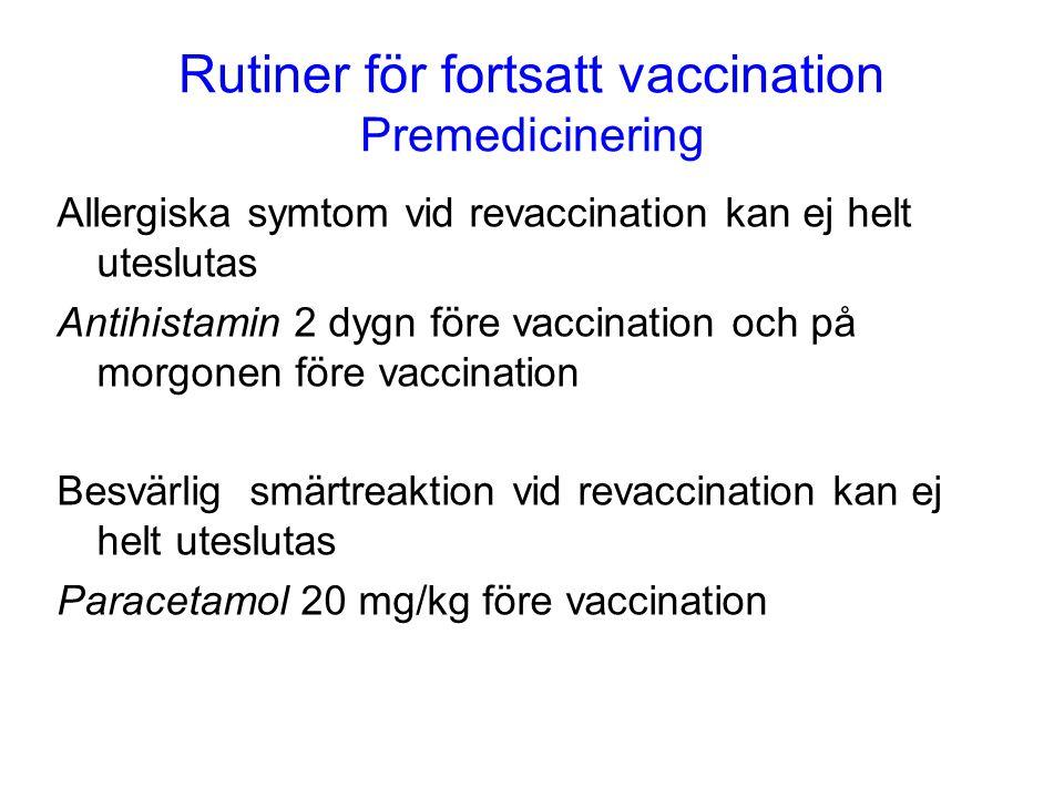 Rutiner för fortsatt vaccination Premedicinering Allergiska symtom vid revaccination kan ej helt uteslutas Antihistamin 2 dygn före vaccination och på