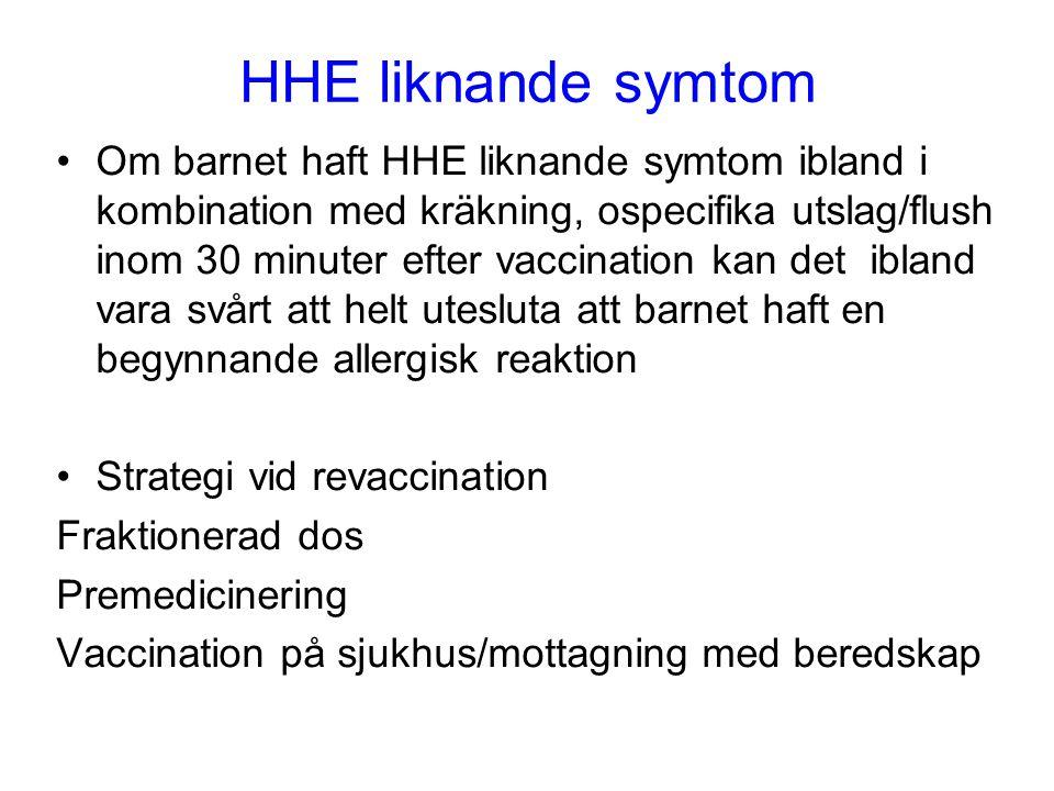 HHE liknande symtom •Om barnet haft HHE liknande symtom ibland i kombination med kräkning, ospecifika utslag/flush inom 30 minuter efter vaccination k