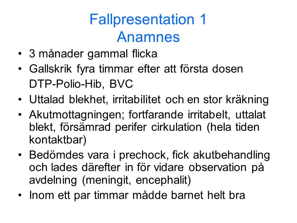 Fallpresentation 1 Anamnes •3 månader gammal flicka •Gallskrik fyra timmar efter att första dosen DTP-Polio-Hib, BVC •Uttalad blekhet, irritabilitet o