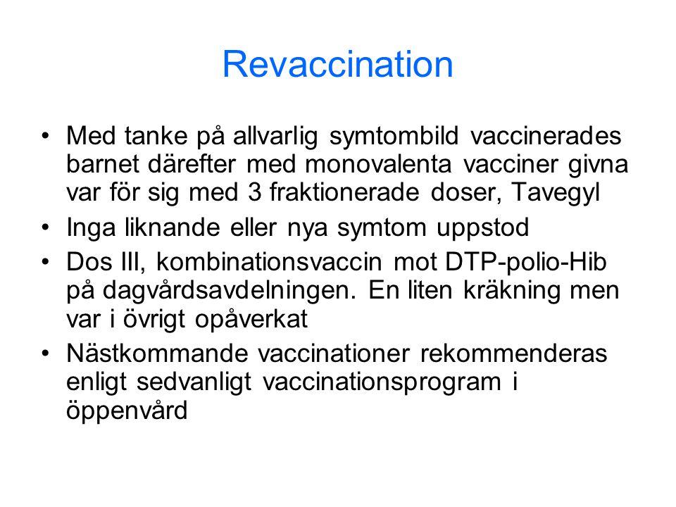 Revaccination •Med tanke på allvarlig symtombild vaccinerades barnet därefter med monovalenta vacciner givna var för sig med 3 fraktionerade doser, Ta