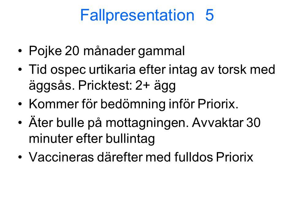 Fallpresentation 5 •Pojke 20 månader gammal •Tid ospec urtikaria efter intag av torsk med äggsås. Pricktest: 2+ ägg •Kommer för bedömning inför Priori