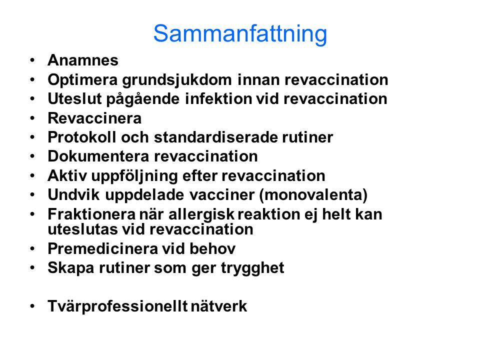 Sammanfattning •Anamnes •Optimera grundsjukdom innan revaccination •Uteslut pågående infektion vid revaccination •Revaccinera •Protokoll och standardi