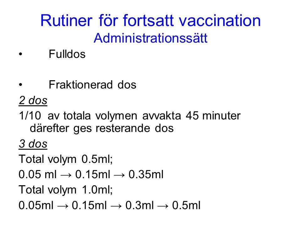 Rutiner för fortsatt vaccination Administrationssätt •Fulldos •Fraktionerad dos 2 dos 1/10 av totala volymen avvakta 45 minuter därefter ges resterand