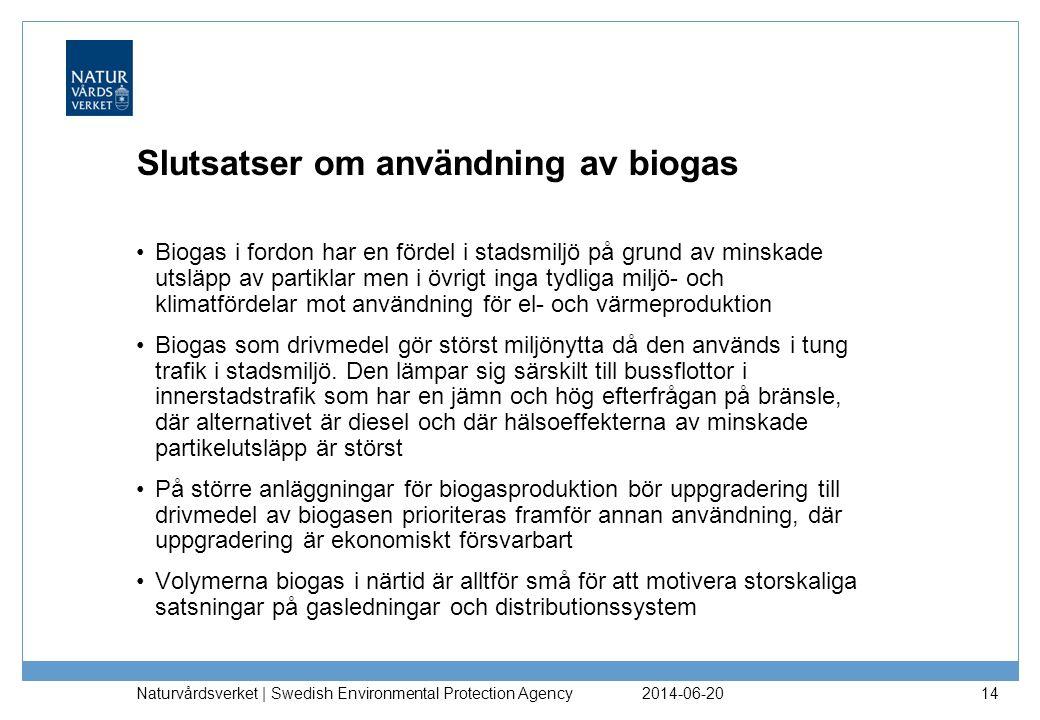 2014-06-20 Naturvårdsverket | Swedish Environmental Protection Agency 14 Slutsatser om användning av biogas •Biogas i fordon har en fördel i stadsmiljö på grund av minskade utsläpp av partiklar men i övrigt inga tydliga miljö- och klimatfördelar mot användning för el- och värmeproduktion •Biogas som drivmedel gör störst miljönytta då den används i tung trafik i stadsmiljö.