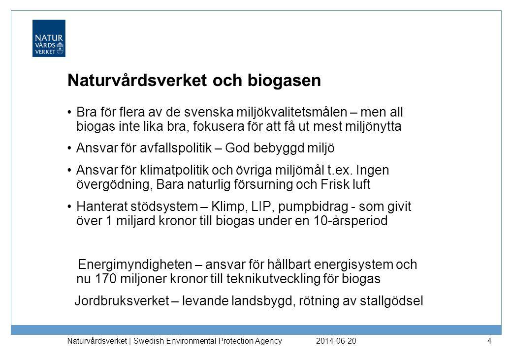 2014-06-20 Naturvårdsverket | Swedish Environmental Protection Agency 4 Naturvårdsverket och biogasen •Bra för flera av de svenska miljökvalitetsmålen