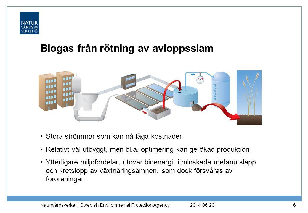 2014-06-20 Naturvårdsverket | Swedish Environmental Protection Agency 6 Biogas från rötning av avloppsslam •Stora strömmar som kan nå låga kostnader •Relativt väl utbyggt, men bl.a.