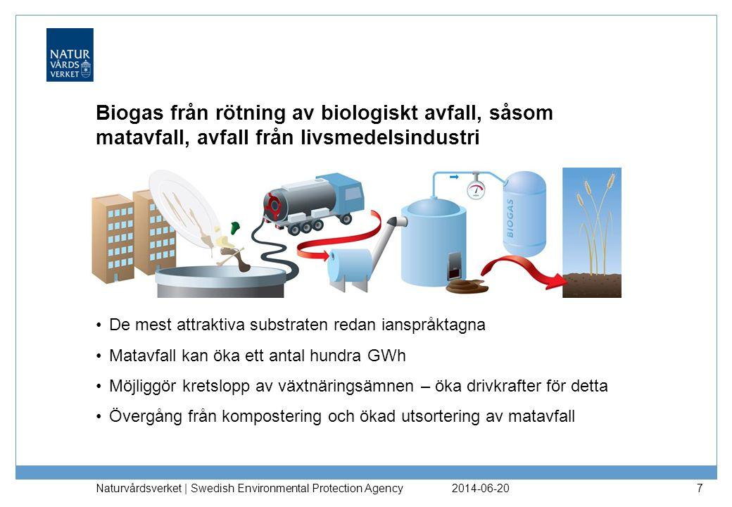 2014-06-20 Naturvårdsverket | Swedish Environmental Protection Agency 7 Biogas från rötning av biologiskt avfall, såsom matavfall, avfall från livsmedelsindustri •De mest attraktiva substraten redan ianspråktagna •Matavfall kan öka ett antal hundra GWh •Möjliggör kretslopp av växtnäringsämnen – öka drivkrafter för detta •Övergång från kompostering och ökad utsortering av matavfall