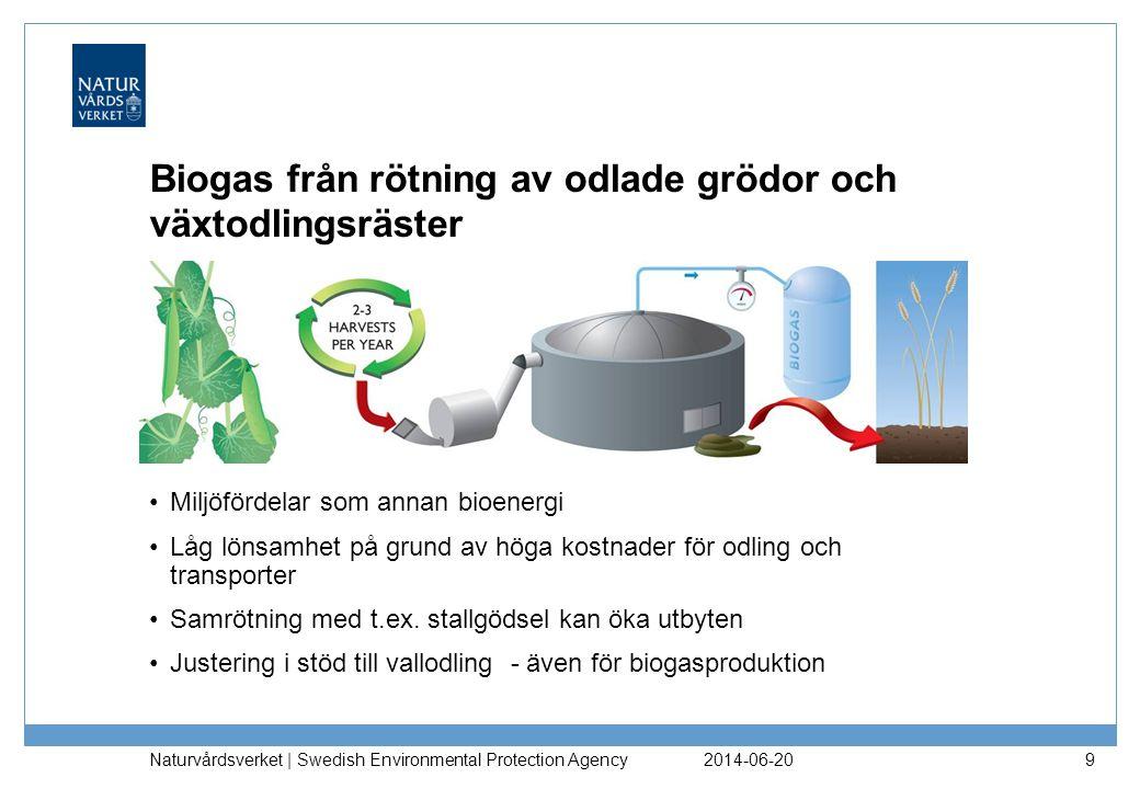 2014-06-20 Naturvårdsverket | Swedish Environmental Protection Agency 9 Biogas från rötning av odlade grödor och växtodlingsräster •Miljöfördelar som annan bioenergi •Låg lönsamhet på grund av höga kostnader för odling och transporter •Samrötning med t.ex.