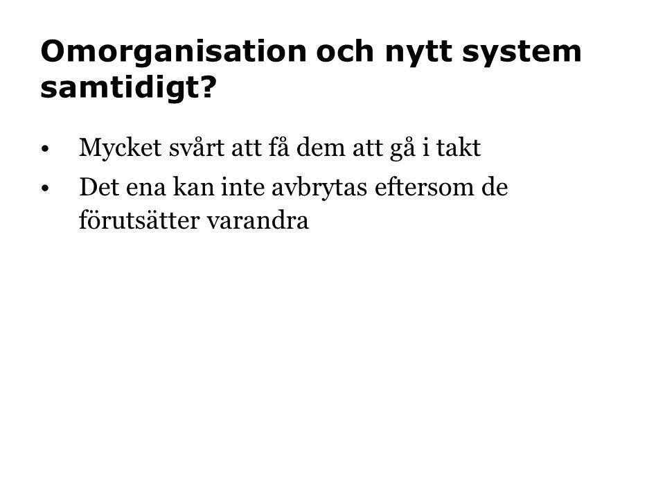 Omorganisation och nytt system samtidigt? •Mycket svårt att få dem att gå i takt •Det ena kan inte avbrytas eftersom de förutsätter varandra