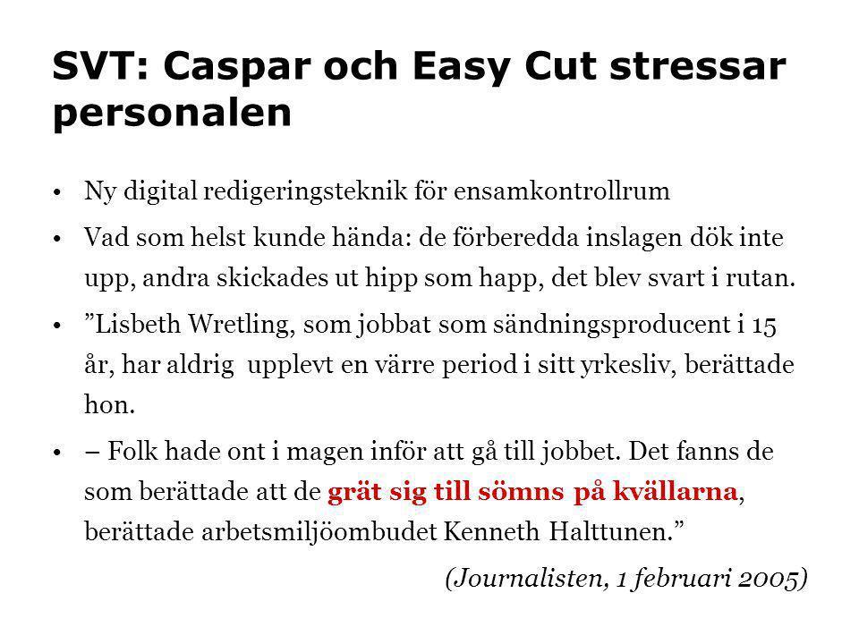 SVT: Caspar och Easy Cut stressar personalen •Ny digital redigeringsteknik för ensamkontrollrum •Vad som helst kunde hända: de förberedda inslagen dök