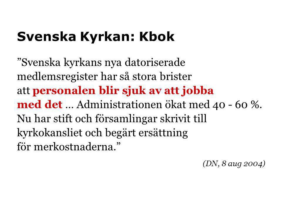 """Svenska Kyrkan: Kbok """"Svenska kyrkans nya datoriserade medlemsregister har så stora brister att personalen blir sjuk av att jobba med det … Administra"""