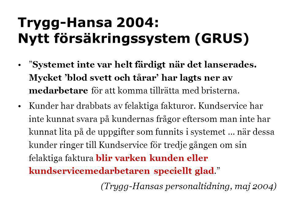 """Trygg-Hansa 2004: Nytt försäkringssystem (GRUS) •""""Systemet inte var helt färdigt när det lanserades. Mycket 'blod svett och tårar' har lagts ner av me"""