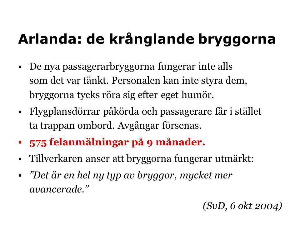 Arlanda: de krånglande bryggorna •De nya passagerarbryggorna fungerar inte alls som det var tänkt. Personalen kan inte styra dem, bryggorna tycks röra