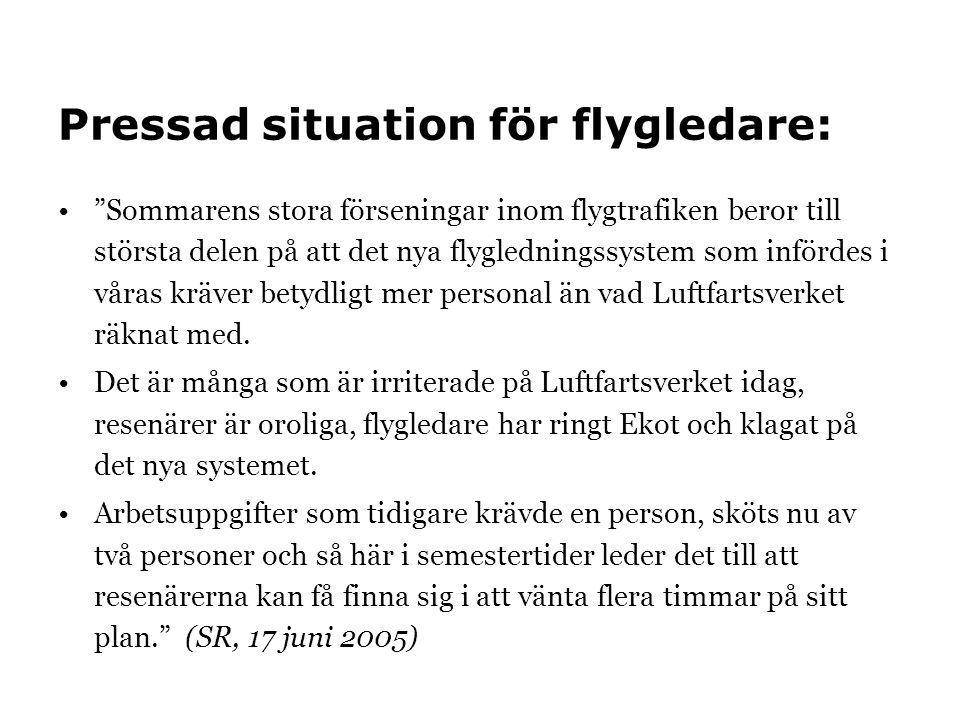 """Pressad situation för flygledare: •""""Sommarens stora förseningar inom flygtrafiken beror till största delen på att det nya flygledningssystem som inför"""