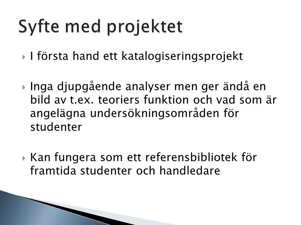  I första hand ett katalogiseringsprojekt  Inga djupgående analyser men ger ändå en bild av t.ex.