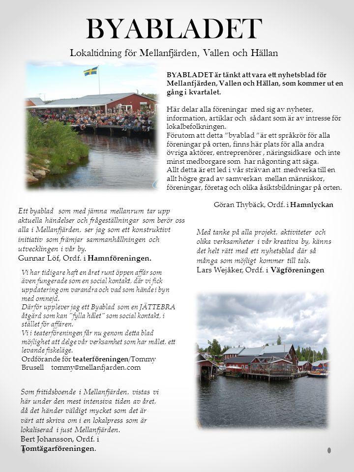 BYABLADET Lokaltidning för Mellanfjärden, Vallen och Hällan BYABLADET är tänkt att vara ett nyhetsblad för Mellanfjärden, Vallen och Hällan, som kommer ut en gång i kvartalet.