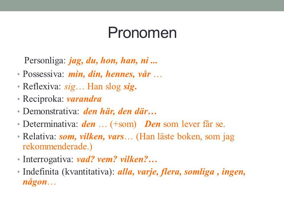 Pronomen Personliga: jag, du, hon, han, ni... • Possessiva: min, din, hennes, vår … • Reflexiva: sig… Han slog sig. • Reciproka: varandra • Demonstrat