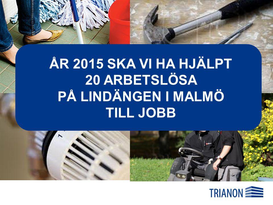ÅR 2015 SKA VI HA HJÄLPT 20 ARBETSLÖSA PÅ LINDÄNGEN I MALMÖ TILL JOBB