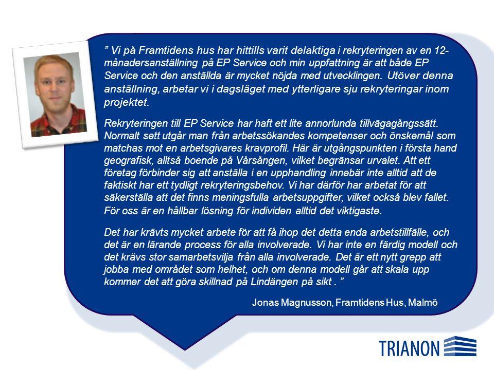 Ulf Persson, ägare EP Service Vi ville gärna delta i ombyggnationen av Vårsången, så när Trianon föreslog att vi skulle anställa en person från området tyckte vi att det var värt att testa.