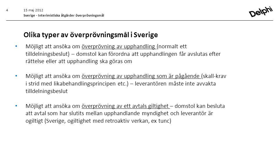 15 maj 2012 Sverige - Interimistiska åtgärder överprövningsmål • Möjligt att ansöka om överprövning av upphandling (normalt ett tilldelningsbeslut) –