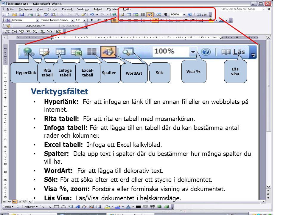 Hyperlänk Rita tabell Infoga tabell Sök Visa % WordArt Läs visa Spalter • Hyperlänk: För att infoga en länk till en annan fil eller en webbplats på in