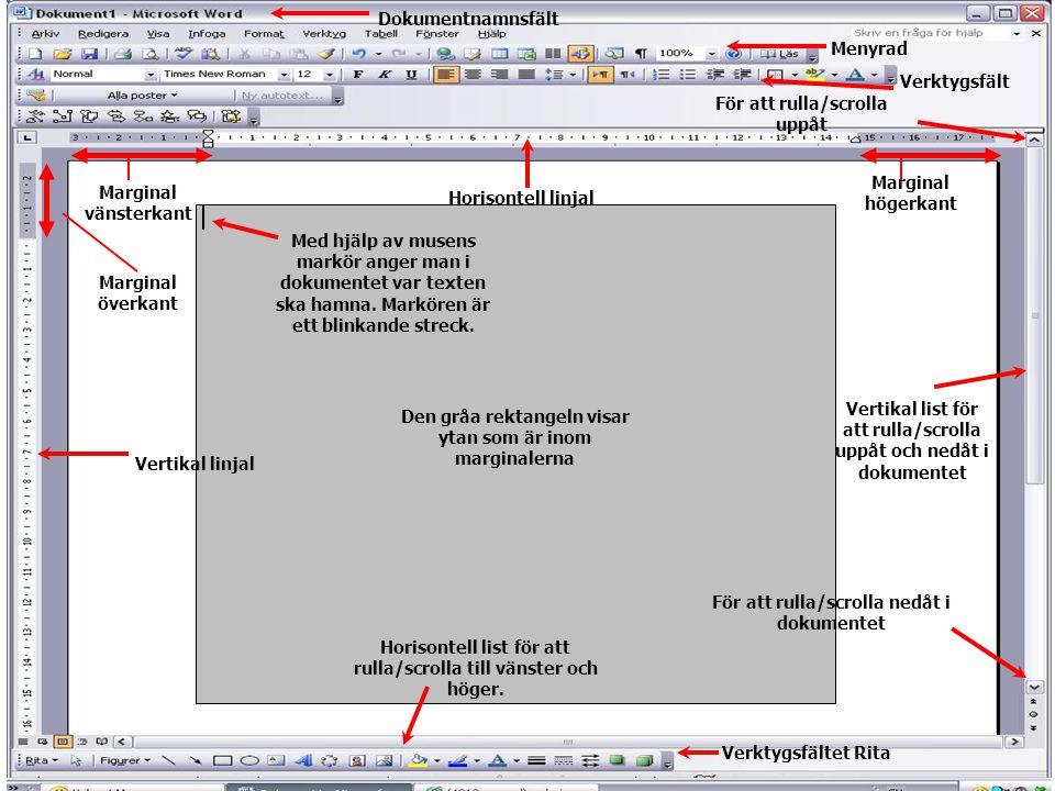 Dokumentnamnsfält Menyrad Verktygsfält Horisontell linjal Vertikal linjal Med hjälp av musens markör anger man i dokumentet var texten ska hamna. Mark