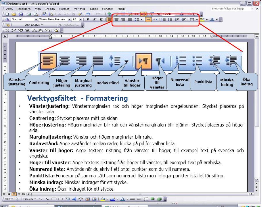 Vänsterjustering Centrering Högerjustering Punktlista - För att skriva en punkterad lista: Skriv den första punkten och klicka sedan på punktlista i verktygsfältet.