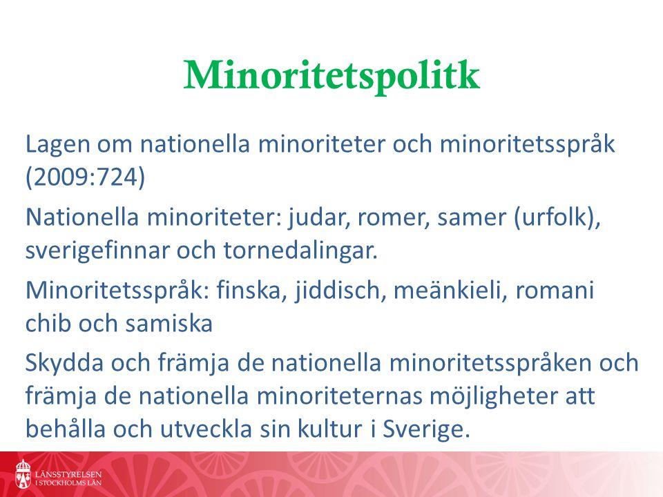 Minoritetspolitk Lagen om nationella minoriteter och minoritetsspråk (2009:724) Nationella minoriteter: judar, romer, samer (urfolk), sverigefinnar och tornedalingar.