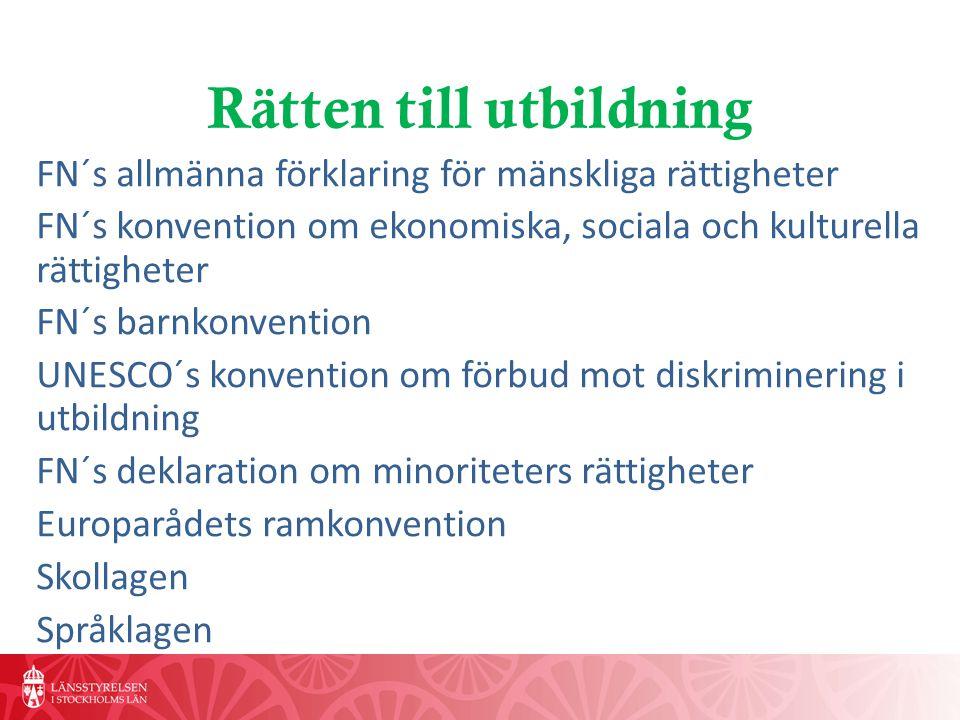 Rätten till utbildning FN´s allmänna förklaring för mänskliga rättigheter FN´s konvention om ekonomiska, sociala och kulturella rättigheter FN´s barnkonvention UNESCO´s konvention om förbud mot diskriminering i utbildning FN´s deklaration om minoriteters rättigheter Europarådets ramkonvention Skollagen Språklagen