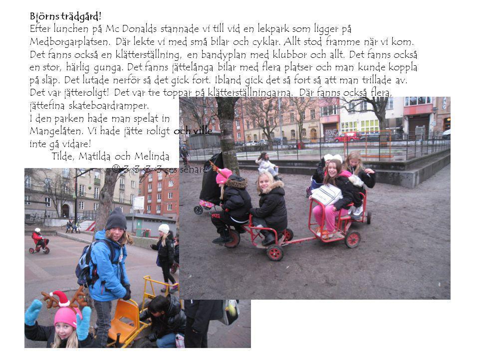 Björns trädgård! Efter lunchen på Mc Donalds stannade vi till vid en lekpark som ligger på Medborgarplatsen. Där lekte vi med små bilar och cyklar. Al