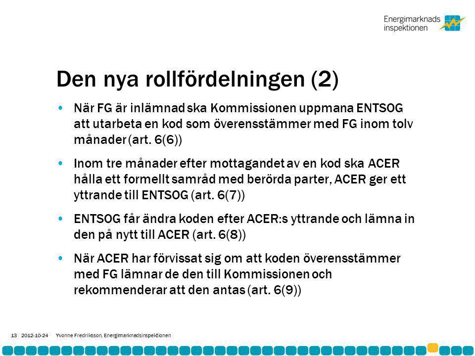 Den nya rollfördelningen (2) •När FG är inlämnad ska Kommissionen uppmana ENTSOG att utarbeta en kod som överensstämmer med FG inom tolv månader (art.